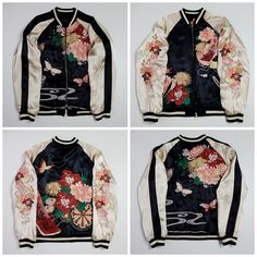 Japanese Vintage Wagara Flowers Black Butterfly Satin Embroidered Embroidery Souvenir Sukajan Jacket - Japan Lover Me Store