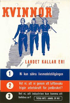 """Swedish WW2 poster: """"Women - The country is calling you!"""""""