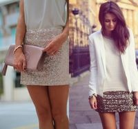 Hot Sale Shiny Sequined Lace Skirt Mini Length Skirt With Sequined Solid Skirts 2015 New High Fashionable Women Short Skirts