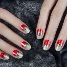 'Tis the season for red hot tips with a twist. Get inspired for your holiday manicure, and click the link in our bio for 15 ways to wear red nails on BAZAAR.com. #styles #shopping #tagforlikes #swag #style