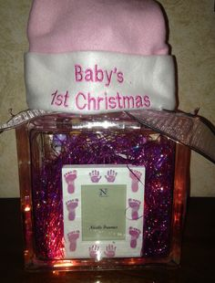 Baby's first Christmas glass block with lights $30 Christmas Glass Blocks, Babys 1st Christmas, Craft Sale, Lights, Create, Decor, Decoration, Lighting, Decorating