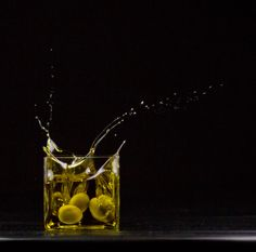 Brilliant photo #oliveoil #olives #photography #art Dark Food Photography, Photography Backdrops, Image Photography, Splash Fotografia, Olives, Food Plating Techniques, Olive Oil Packaging, Olive Oil Bottles, Herbal Oil