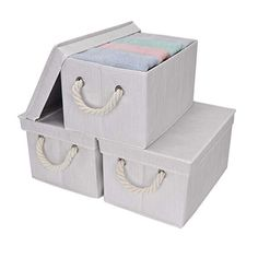 StorageWorks: Foldable Fabric Storage Bin w/Cotton Rope Handles & Lid, Ivory, (Large), Beige Baskets For Shelves, Storage Bins With Lids, Decorative Storage Boxes, Fabric Storage Bins, Storage Baskets, Dvd Storage, Fabric Boxes, Fabric Basket, Shoe Storage