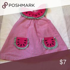 Watermelon seersucker dress Says 3T but fits between a 2T and 3T. In very good condition. KT KIDS Dresses