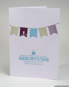 Weiße Karte, bunte Fähnchen, einzeln, Birthday, Geburtstag, Stampin' Up!