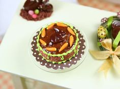 Miniature Food #Miniature Easter/Spring Chocolate Cake with Bunny - French Food in 12th Scale