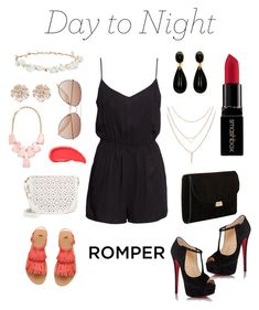 """""""Day to Night Romper"""" by space-unicorns-are-bae ❤ liked on Polyvore featuring H&M, Under One Sky, River Island, Kendra Scott, Urban Decay, Mansur Gavriel, Design Lab, Christian Louboutin, Smashbox and DayToNight"""