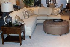 """Wesley Hall Furniture  Sectional Sofa  """"Signature Elements"""" Collection  - Deep Seat: 24""""  - available in 21""""D Seat    Ottoman  - Leather  - 47.5"""" Dia.  - Color: Harness Puddy  - Button tuft- reverse leather"""