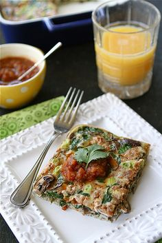 Baked Egg Breakfast Casserole with Mushrooms, Spinach  Salsa Recipe