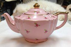 Vintage Sadler England Pink Rose Gold Chintz Teapot - Tea Pot$120.00