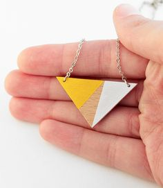 Wooden triangle geometric necklace sunny yellow white