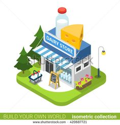#Dairy shop building realty real estate concept. Flat 3d isometry isometric style web site app icon set concept vector illustration. Build your own world architecture collection.