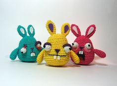 """Freaky Easter Bunnies - Free Amigurumi Crochet Pattern - PDF click """"download"""" or """"free Ravelry download"""" here: http://www.ravelry.com/patterns/library/freaky-easter-bunnies"""