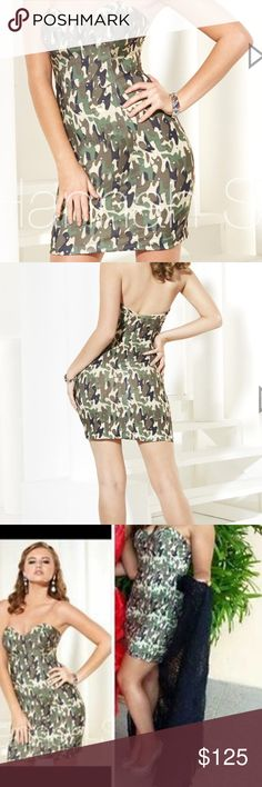 Hannah S Camo Prom/Pageant Dress HANNAH S 27922 SHORT DRESS  Strapless sweetheart neckline printed jersey short homecoming cocktail dress features an army camo printed on jersey and slim short skirt.  Colors: Safari Camo  Size 10 worn for fun fashion at a national pageant! No rips or stains! Smoke free home. I also made the black train with bow that I can sell for $20 extra if interested! hannah s  Dresses Strapless