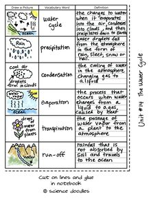 The Water Cycle Foldable plus Vocabulary Sheets, FREE by S Fourth Grade Science, Elementary Science, Middle School Science, Science Classroom, Teaching Science, Science Education, Physical Science, Science Worksheets, Science Resources