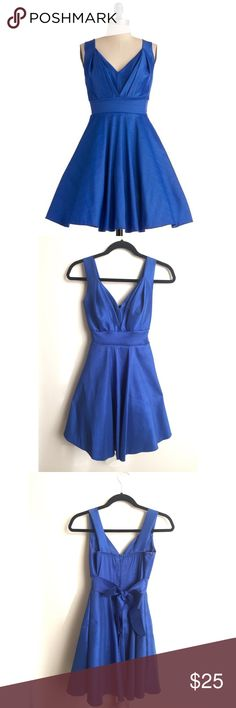 Modcloth Sapphire Blue Party Dress Excellent condition, worn once! Bright, solid blue stretchy material with a sheen. Modcloth Dresses Midi