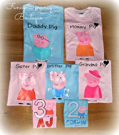 Who doesnt love Peppa Pig? These were for an entire family to wear for their little ones birthday party. What a neat idea! Look through the pictures above to find the size & measurement charts for the shirts that you are interested in to ensure you get the proper fit. Choose your character and size! Boy Characters will be put on blue shirts & Girl characters will be put on pink shirts as shown in the picture (unless you want a different color shirt). PLEASE always include the date that you…