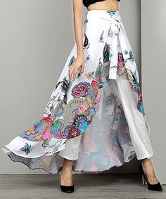 Reborn Collection White Paisley Chiffon High-Waist Ruffle Pants - Plus Too Girl Fashion, Fashion Outfits, Womens Fashion, Fashion Design, Muslim Wedding Gown, Jazz Pants, Cooler Look, Types Of Skirts, Ruffle Pants