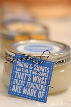 Sugar Scrub Recipes, Printable Labels & Teacher Gift Tags - Balancing Home Simple sugar scrub recipes plus FREE printable labels and teacher gift tags. Perfect holiday gift, teacher appreciation gift, or a little something for you! Teacher Gift Tags, Teacher Gift Baskets, Teacher Valentine, Teacher Christmas Gifts, Simple Teacher Gifts, Preschool Teacher Gifts, Teacher Treats, Homemade Teacher Gifts, Teacher Presents