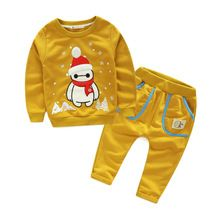 2016 New Kids Clothes cute Christmas Snowman embroidered Clothing Sets 100% cotton jacket + pant Boys Children clothes set(China (Mainland))