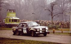 Timo Makinen in the Colibri Lighters sponsored Ford Escort, on the RAC rally.