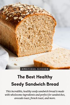 Best Healthy Soft Seedy Sandwich Bread - This homemade healthy sandwich bread recipe is soft and made with healthy ingredients like whole wh - Healthy Sandwich Bread Recipe, Homemade Sandwich Bread, Healthy Bread Recipes, Healthy Sandwiches, Cooking Recipes, Whole Wheat Sandwich Bread Recipe, Nutty Bread Recipe, Sandwich Bread Recipe For Bread Machine, Daves Killer Bread Recipe