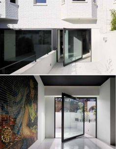 LARGE PIVOT DOORS ~ not really new but new to mainstream ~Mechanic Garage to Modern Glass Addition in London