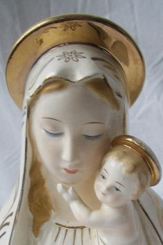 vintage madonna and child planter