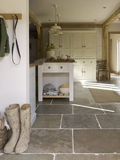 Flagstone Tile Floor- great in kitchen and/or mudroom & entry Flooring, Kitchen Style, Cottage Kitchen, Kitchen Flooring, Slate Flooring, Stone Cottage, Natural Stone Flooring, Limestone Flooring, Floor Design