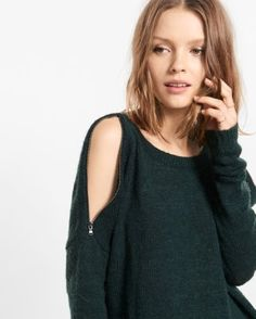 zip cold shoulder tunic sweater