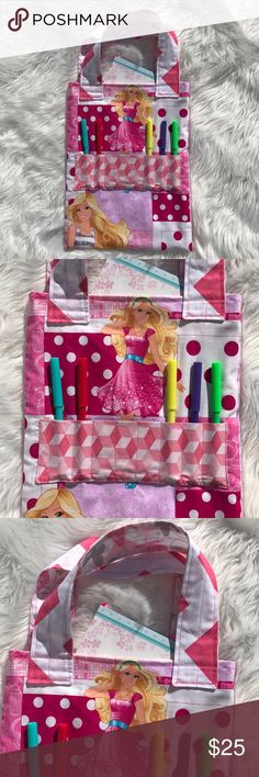 Barbie crayon,gel pens , coloring book tote  bag Handmade Christmas Gift for a Girl, tote Bag for crayons and gel pens and markers and a full size coloring book Barbie Accessories Bags