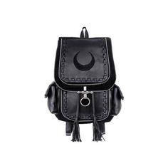 Restyle Black Crescent Backpack (£52) via Polyvore featuring bags, backpacks, lock bag, locking backpack, backpack bags, knapsack bag and rucksack bags
