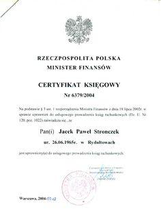 Certyfikat uprawniający do usługowego prowadzenia ksiąg rachunkowych. Biuro rachunkowe Rybnik - Doradztwo Ekonomiczno Finansowe Jacek Stronczek https://www.facebook.com/KsiegowyRybnik/ www.stronczek.pl