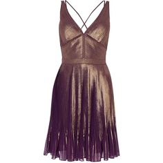 Karen Millen Metallic Pleated Dress ($285) ❤ liked on Polyvore featuring dresses, women dresses, fitted dress, purple cocktail dresses, v neckline dress, purple party dresses and v neck cocktail dress