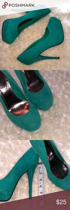 "Seafoam Green Sueded Pumps NWOT. Never worn. Sueded platform pumps. Platform is approximately .75-1.25"". NO TRADES Herstyle Shoes Heels"