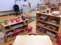 ABC and writing center ideas, activities, and organization tips for pre-k classrooms. --- good ideas for writing center items! Classroom Layout, New Classroom, Classroom Setting, Classroom Organization, Classroom Decor, Classroom Management, Abc Centers, Preschool Centers, Preschool Literacy