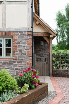 Welsh Barn - Border Oak - oak framed houses, oak framed garages and structures. Front Door Porch, Porch Doors, House Front, Front Doors, Porch Canopy, Door Canopy, Old Style House, Border Oak, Oak Framed Buildings