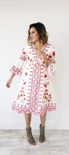Floral Embroidered Dress | ROOLEE