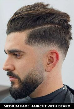 Cut your hair into this flattering medium fade haircut with beard if you need a fresh cut! Learn more about this look and see the rest of the 22 fantastic beard fade haircuts you'll see this year. // Photo Credit: @nik_hairdesign on Instagram Faded Beard Styles, Beard Styles For Men, Hair And Beard Styles, Short Hair Styles, Cool Haircuts, Hairstyles Haircuts, Haircuts For Men, Cool Hairstyles, Best Fade Haircuts