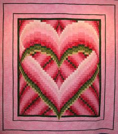 """Melinda's Heart"" bargello quilt by Molly, design by Heidi K. Farmer, quilted by Gloria at Country Garden Quiltworks (Nelson, BC, Canada) Bargello Quilt Patterns, Heart Quilt Pattern, Bargello Needlepoint, Bargello Quilts, Needlepoint Patterns, Quilt Patterns Free, Hexagon Quilt, Quilting Projects, Quilting Designs"
