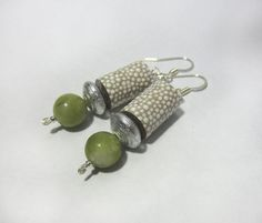 Authentic Connemara Marble - Free Shipping - Handpainted Earrings with white dots