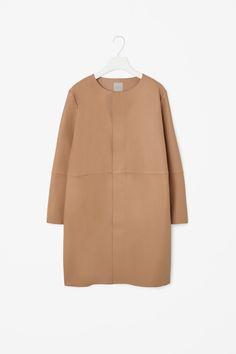 Raw-cut leather coat