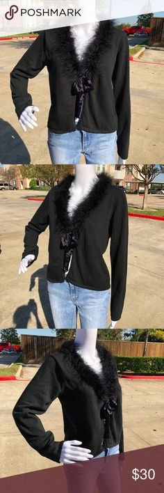 """APRIL CORNELL """"feather"""" trimmed bowtied Cardigan S awesome condition. boa trimmed neckline. satin ribbon closure. size small. black. April Cornell Sweaters Cardigans"""