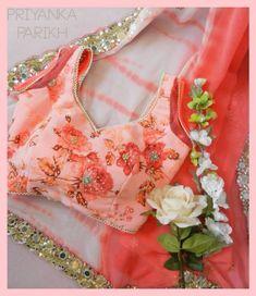 Priyanka Parikh Peach & White Mirrorwork #Saree With Floral #Blouse.