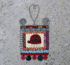 miniature quilt log cabin ladybug folk art wall by gonetoseed - no longer available, but what a cute idea!