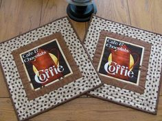 Quilted Mug Rugs/Placemats Italian Cafe & Chocolats Coffie Theme Fabric Beige/Cream Burgundy Coffee Pot Coffee Bean Border - Coffee Bar Mats by HiddenLakeHomespuns on Etsy