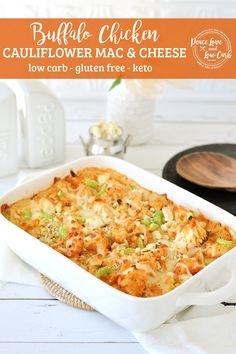 This rich and cheesy Keto Buffalo Chicken Mac and Cheese recipe is the ultimate in comfort food. The spiciness of the buffalo sauce, the cooling blue cheese, paired with the crunchy celery and tender, juicy chicken, make it perfectly balanced in flavor.   Peace Love and Low Carb Buffalo Mac And Cheese, Keto Mac And Cheese, Cauliflower Mac And Cheese, Chicken Cauliflower, Keto Chicken, Blue Cheese, Buffalo Cauliflower, Cauliflower Recipes, Cheesy Chicken