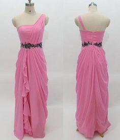Long A-line One Shoulder Chiffon Prom Dresses 2017