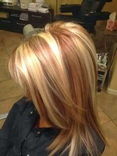 golden blonde hair with reddish caramel lowlights by jolene