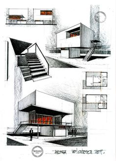 Remake of a house by the romanian architect Horia Creanga house by Horia Creanga 2 Sketchbook Architecture, Art Et Architecture, Architecture Graphics, Portfolio D'architecture, Portfolio Examples, Portfolio Website, Planer Layout, House Sketch, Building Design